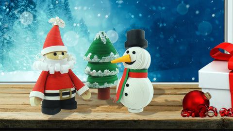 Santa, Snowman, Christmas Tree made using 3D Quilling