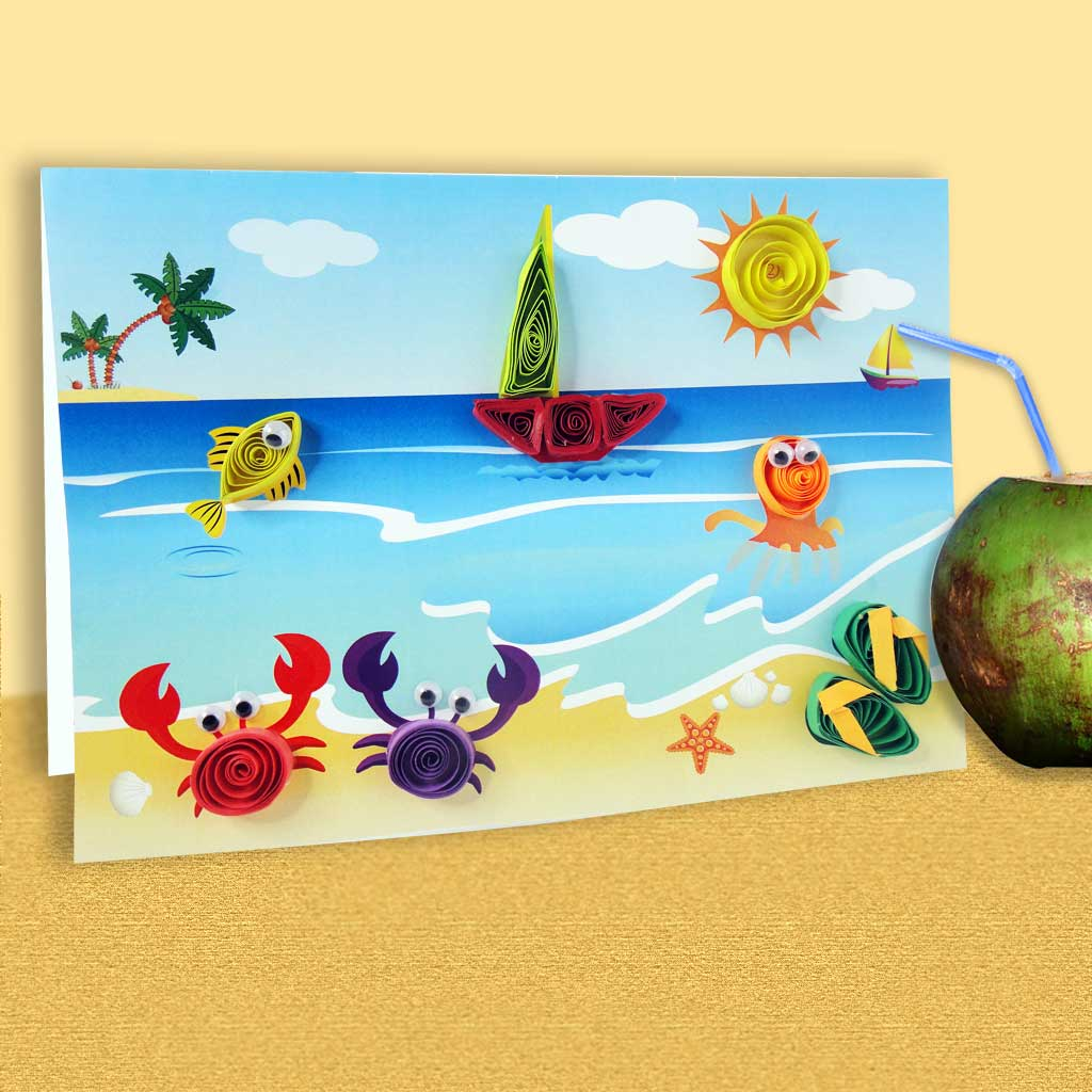Beach theme Quilling Cards