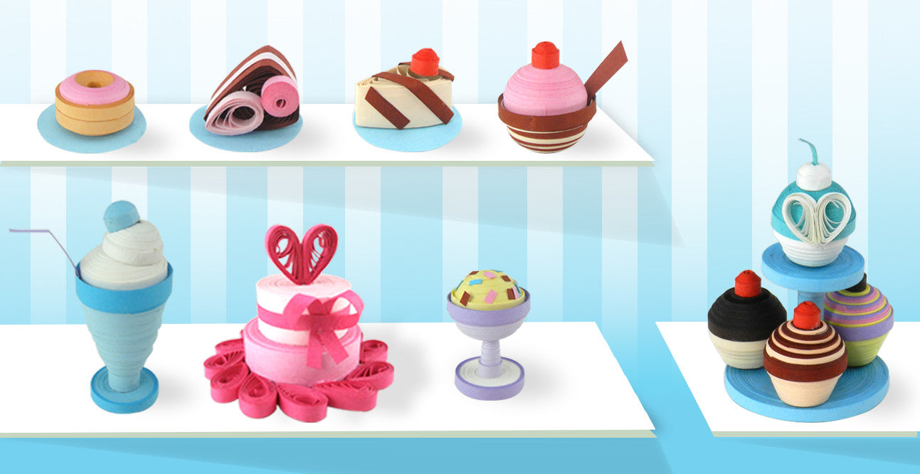 Quilling cakes and ice creams