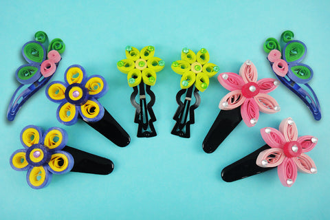 Quilling Hair Clips with Floral Designs