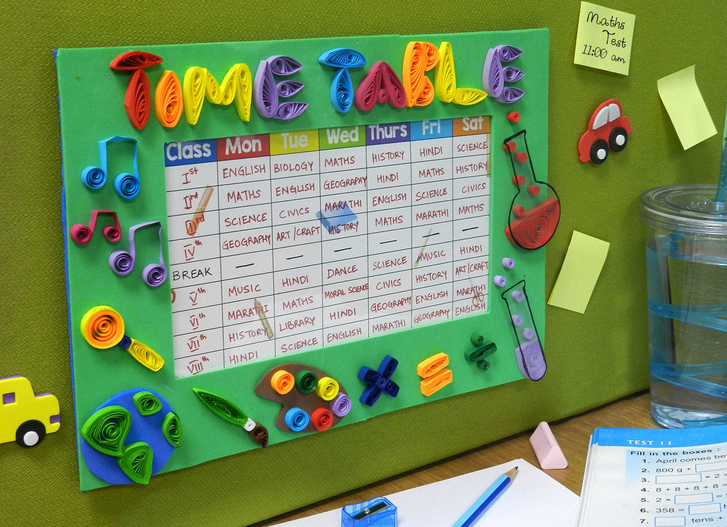 quilled time table