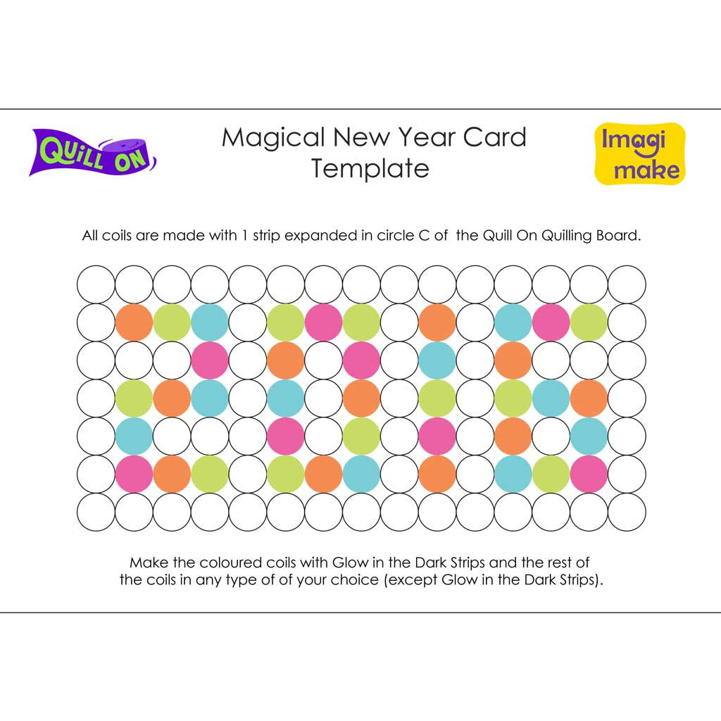 magical new year card template quill on