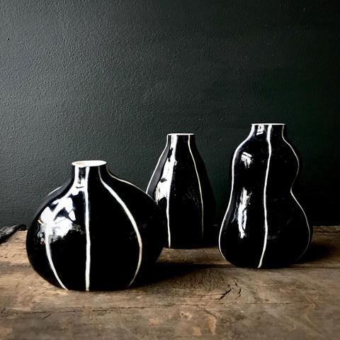 Black Bud Vases by Kri Kri Studio