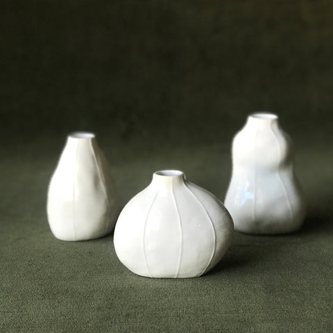 White Bud Vases by Kri Kri Studio