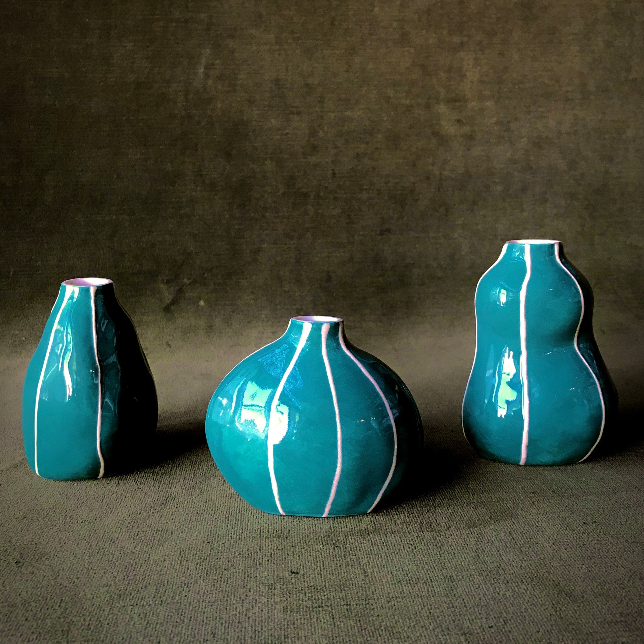 Teal Bud Vases by Kri Kri Studio
