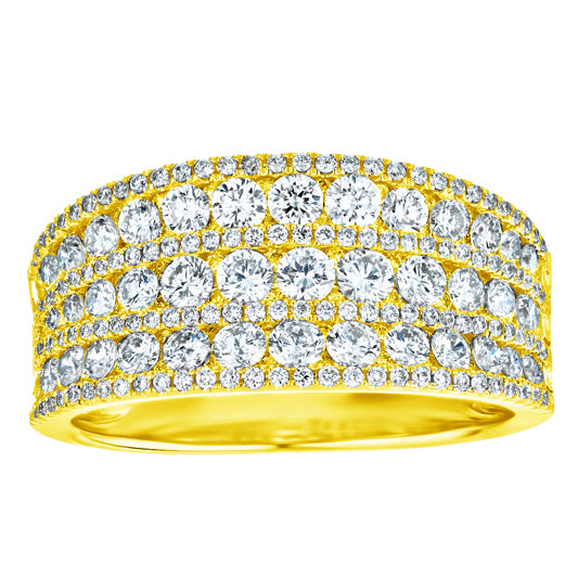 1-1/2ct Diamond 7-Row Yellow Gold Band