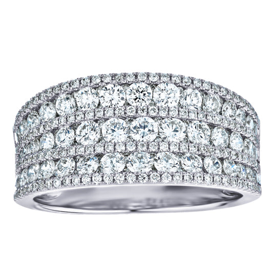 1-1/2ct Diamond 7-Row White Gold Band