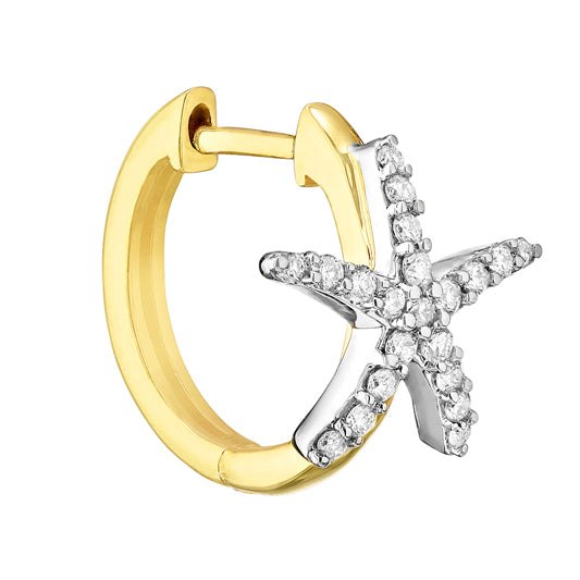 1/2ct Diamond Starfish 2-tone 14kt Hoops