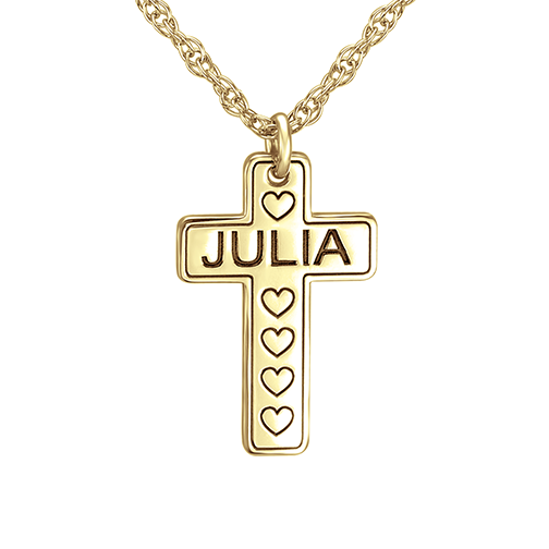 Henry's Personalized Kids Cross Pendant (17x11mm)