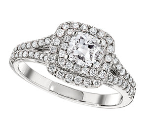 1/2ct Cushion-Shape Double Halo Ring