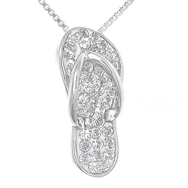 Sterling Silver Flip-flop Pendant with brilliant clear Swarovski crystal