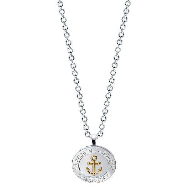 Ocean City Anchor GPS Necklace