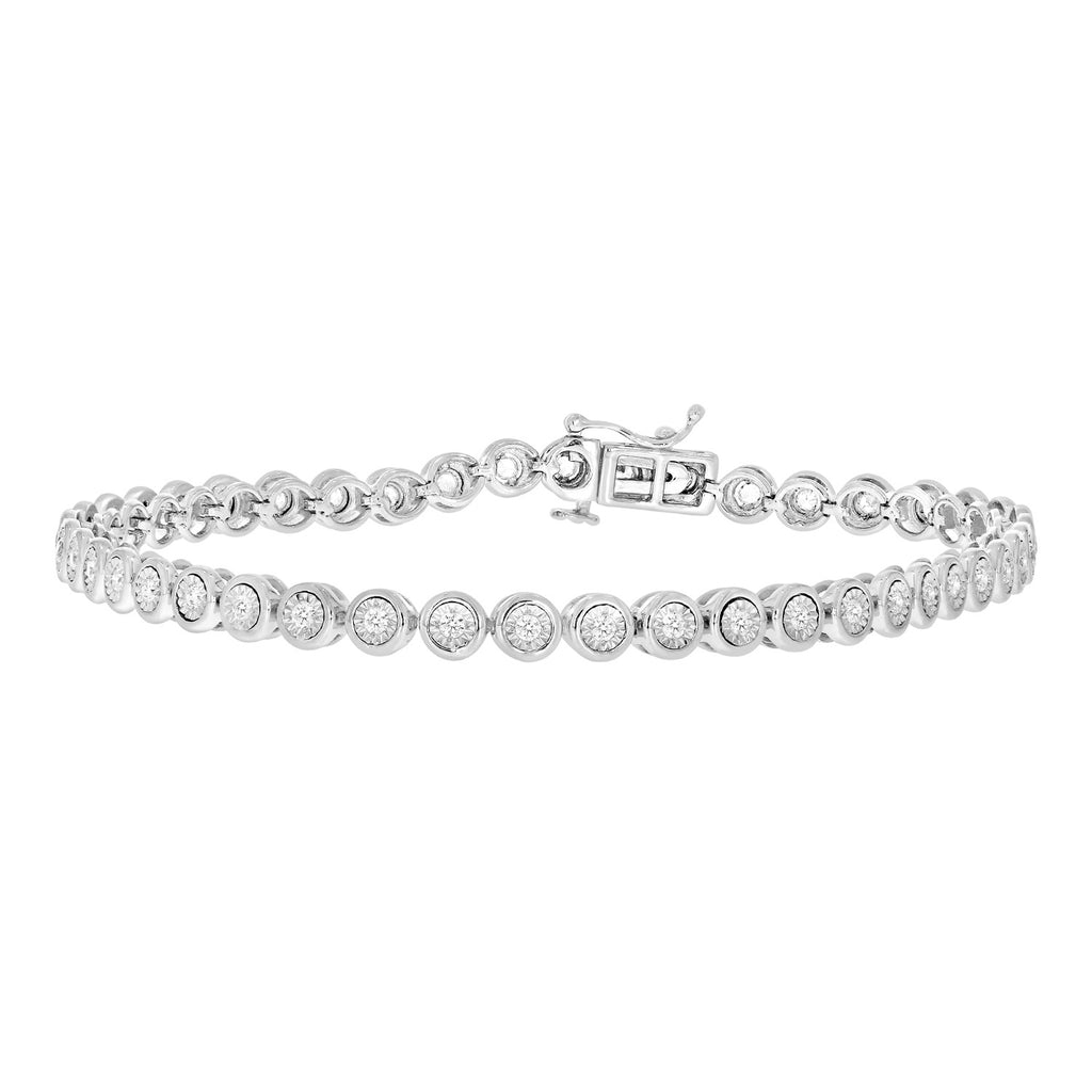 14Kt White Gold Bracelet with Bezel-Set Diamonds