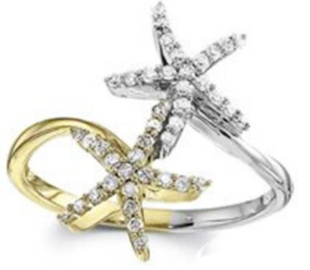 14kt Double Starfish Ring
