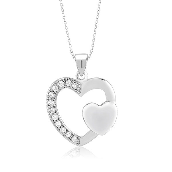 Valentine Double Heart Pendant and Chain