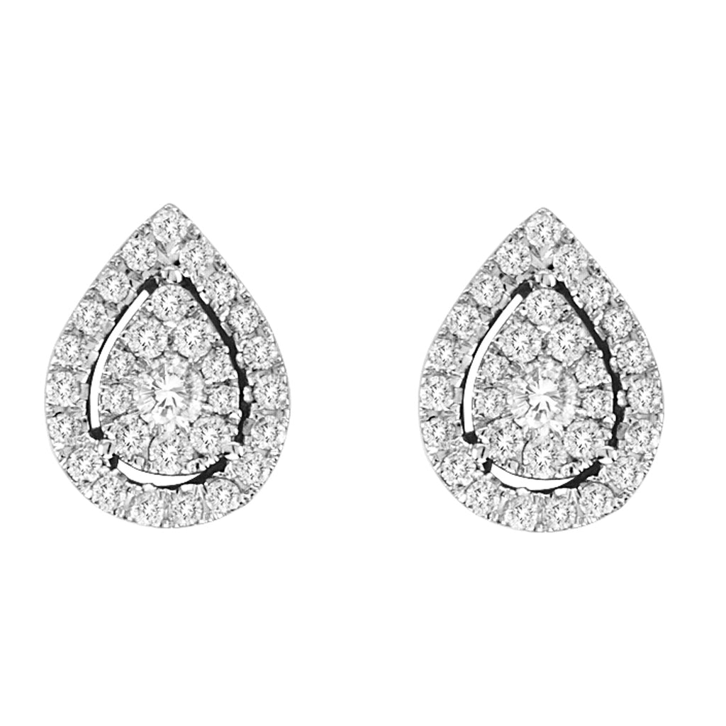 14KT White Gold Pear Shaped Earrings