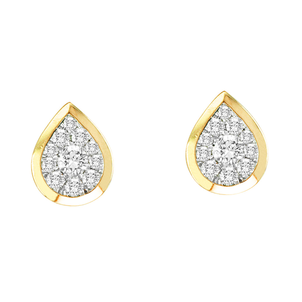 14KT Yellow Gold Pear Shaped Bezel .50ctTW Earrings