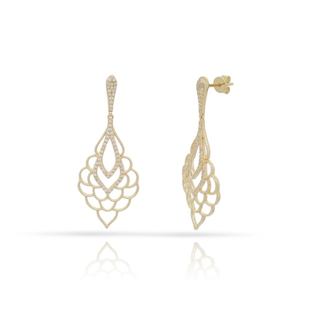 14Kt Gold Earrings with approx. 38ct diamonds