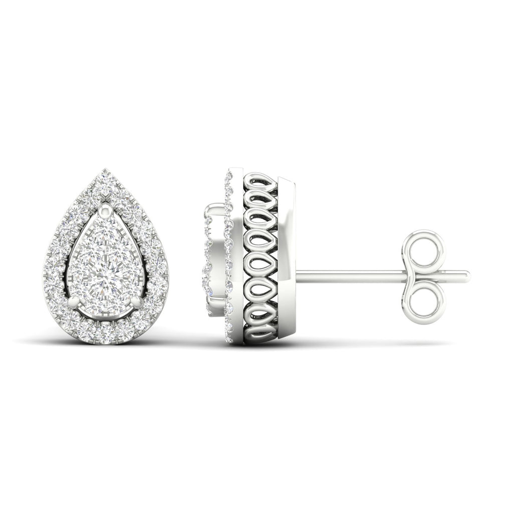 14kt Pear-Shape Halo Earrings - White