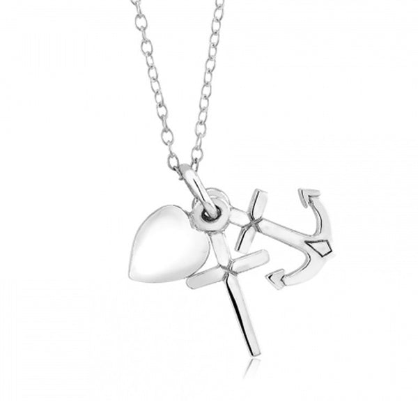 Sterling Silver Faith Hope Charity Necklace