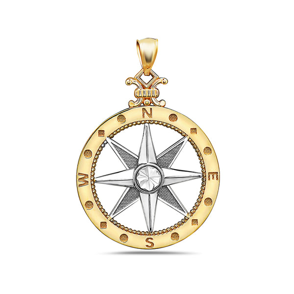 14kt Gold 2-tone Ocean City Compass