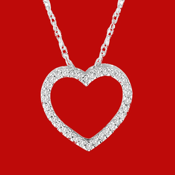 Heart Necklace with Sparkling White Diamonds.