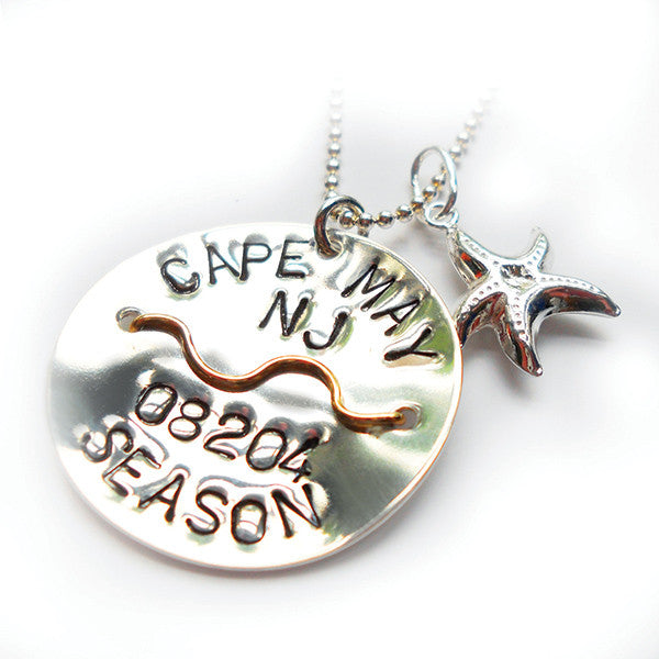Cape May Beach Tag Pendant and Necklace