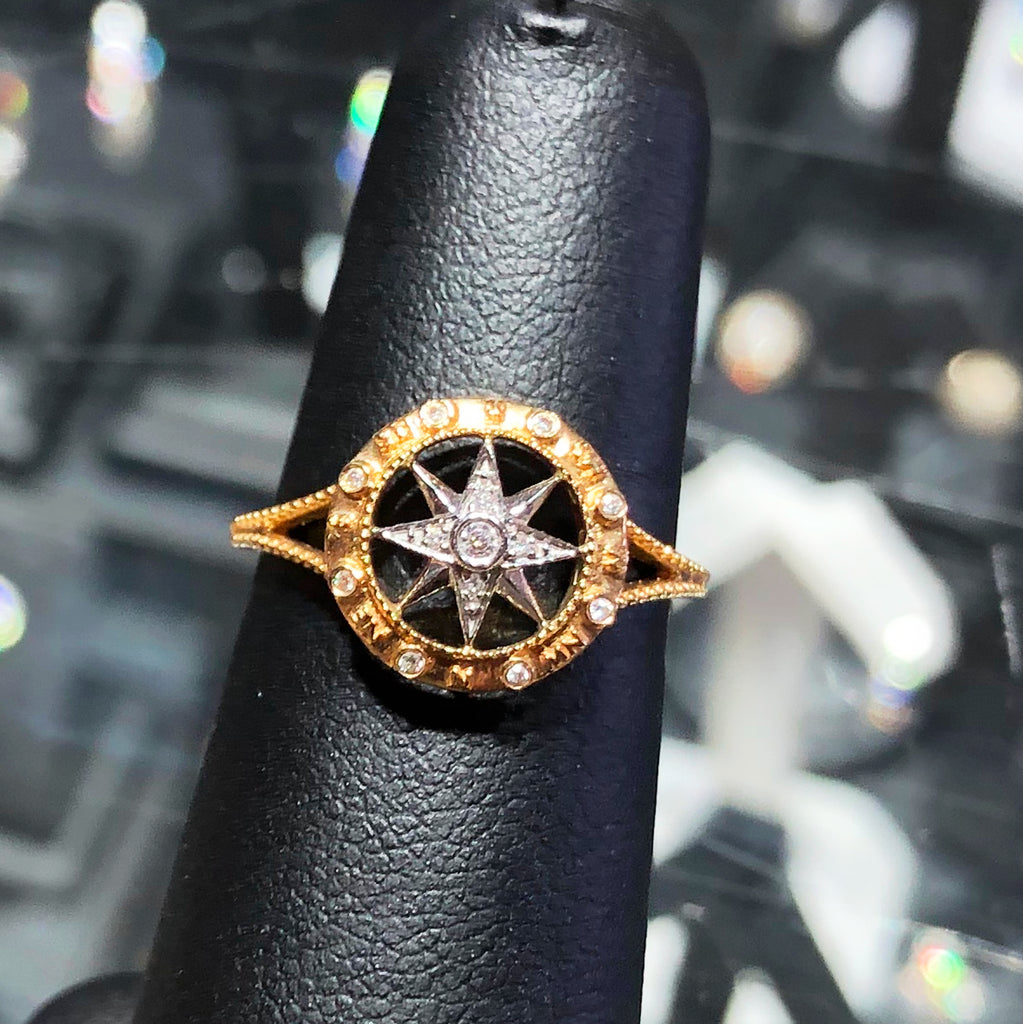 14kt Compass Ring with Diamonds