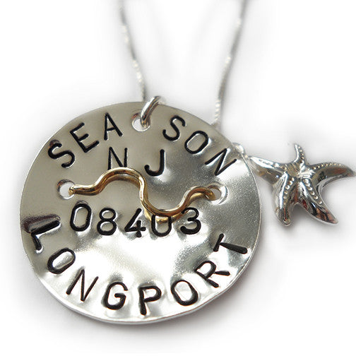 Longport Beach Tag Pendant and Necklace.