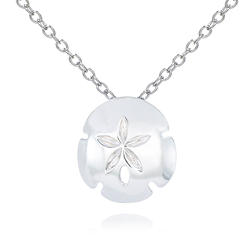 High Polish Sterling Silver Sand Dollar Necklace