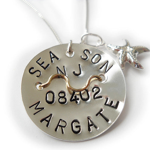 Margate Beach Tag Pendant and Necklace.