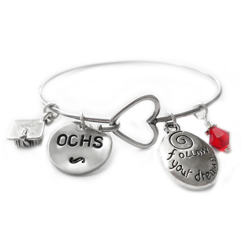 Ocean City High School Grad Heart Dangle Bracelet