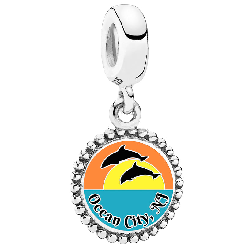 Dolphin Sunset Ocean City Pandora Bead