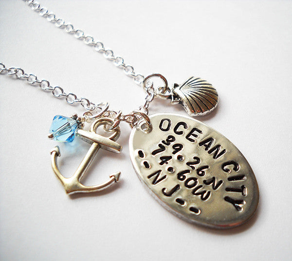 Ocean City Pewter Oval Necklace with Anchor and Shell Charm