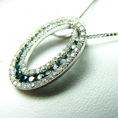 Oval-Shaped Blue Diamonds Pendant 703211