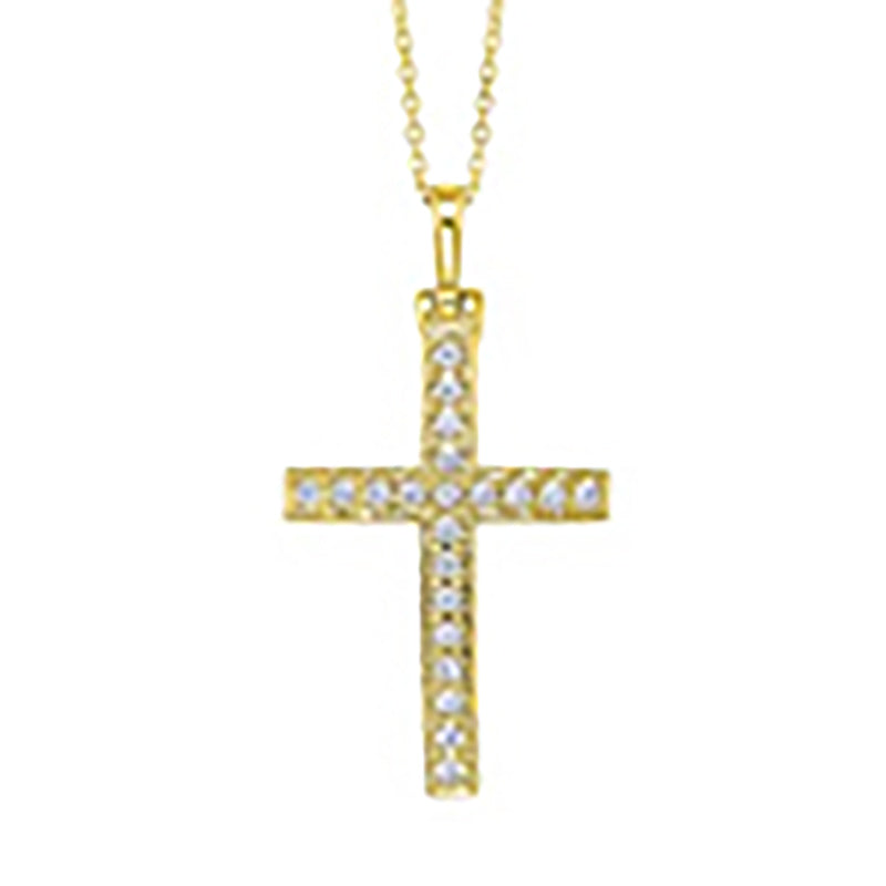14kt Gold Cross with .75ctct Diamonds
