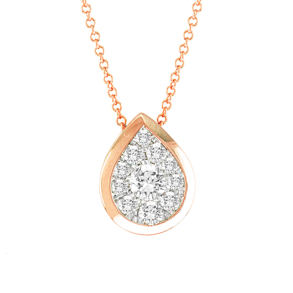 14kt Pear-Shape Rose Gold Bezel Necklace