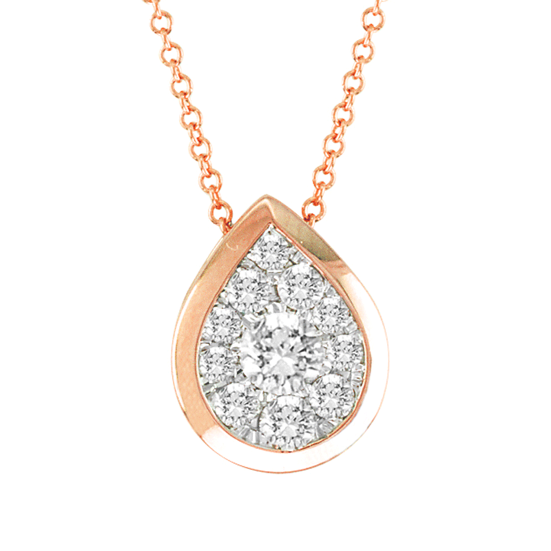 14kt Gold Pear-Shape Necklace with .15ctTW diamonds.