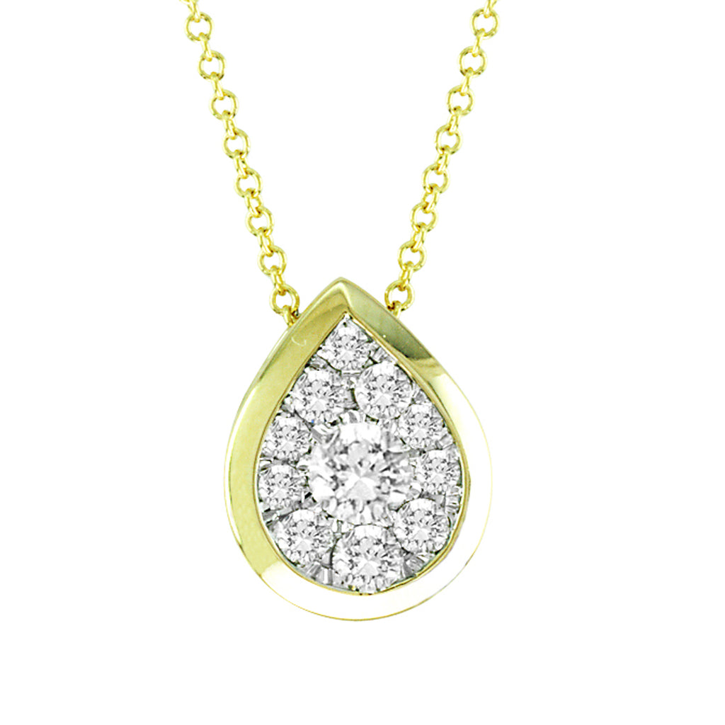 14kt Pear-Shape Yellow Gold Bezel Necklace