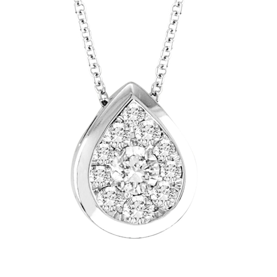 14kt Pear-Shape White Gold Bezel Necklace