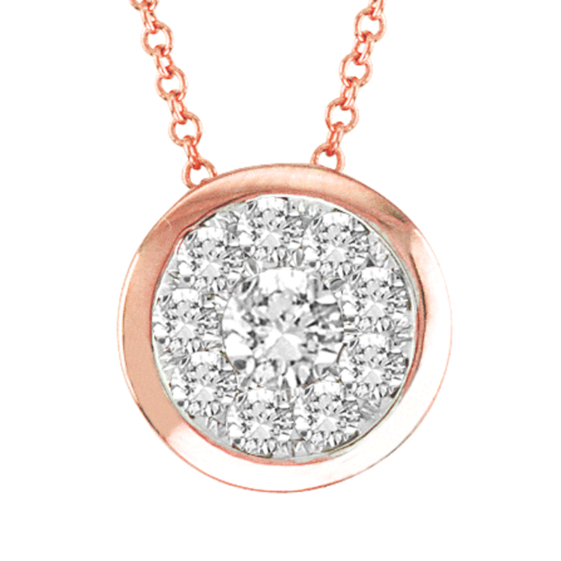 14kt Rose Gold Round-Shape Bezel Necklace
