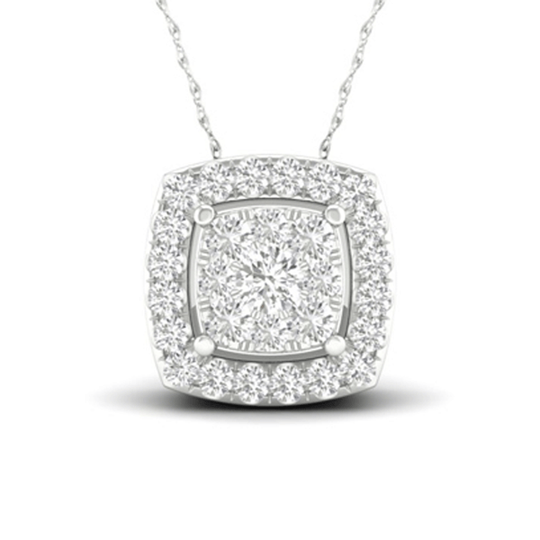 Stunning Cushion Halo Cut Diamond Necklace