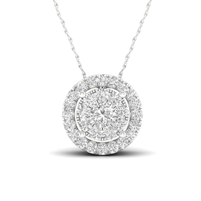 Elegant Round Halo Diamond Necklace and Earring Set