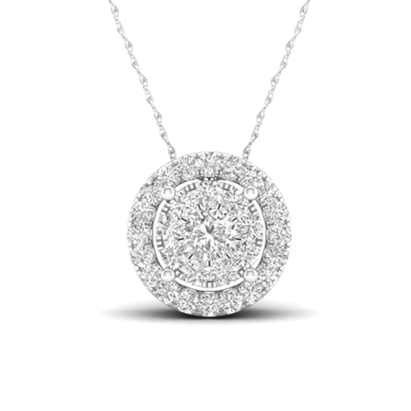 Elegant Round Halo Diamond Necklace