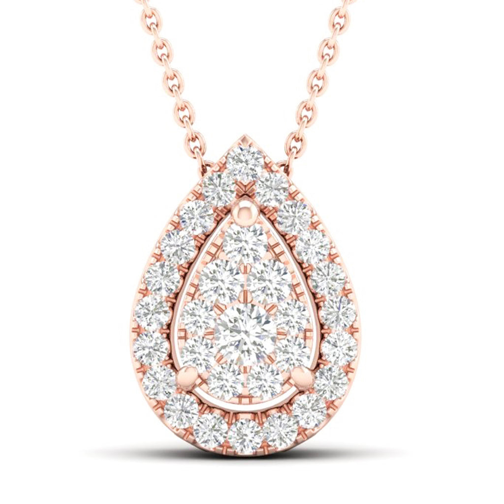 14kt Pear-Shape Rose Gold Halo Necklace