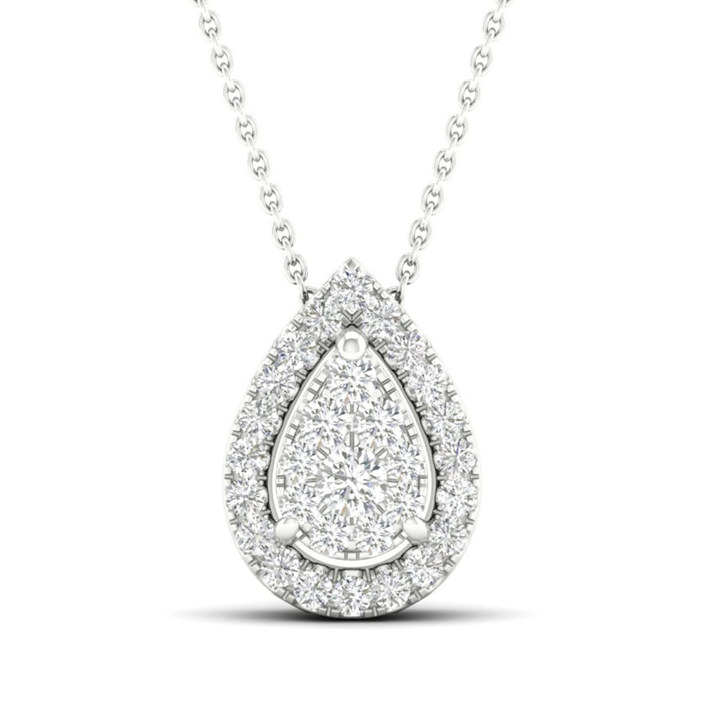 14kt Pear-Shape Halo Necklace