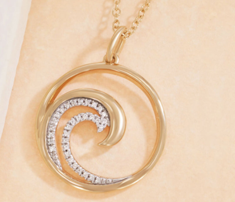 Diamond Wave Pendant and Necklace