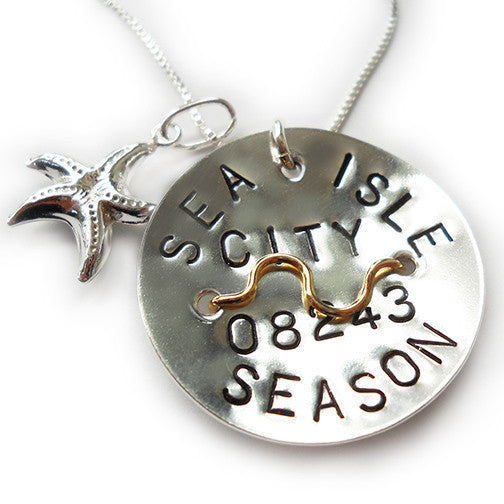 Sea Isle City Beach Tag Pendant & Necklace