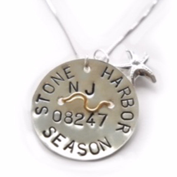 Stone Harbor Beach Tag Pendant and Necklace