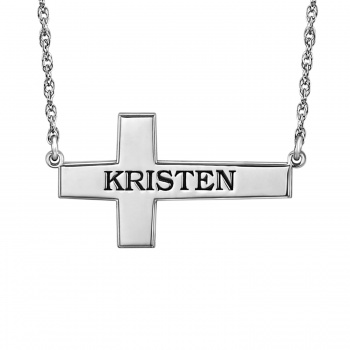 Henry's Personalized Sideway Cross Name Necklace (16x28mm)